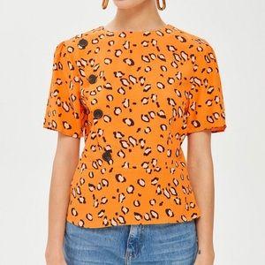 🆕 TOPSHOP - Orange Leopard Print Button Blouse